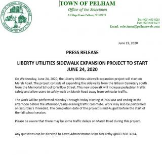 Press release of the Liberty Utilities sidewalk expansion project that is starting June 24, 2020 and will until about mid-august