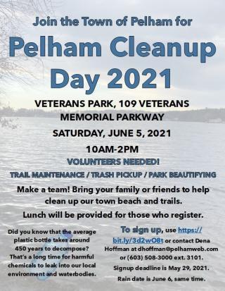 2021 Pelham Town Cleanup Flyer
