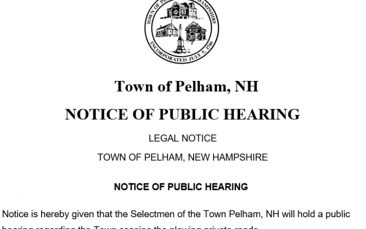 Picture of Public hearing notice of ceasing plowing of pubic roads at 7:00 PM on Tuesday, June 23, 2020 in Sherburne Hall