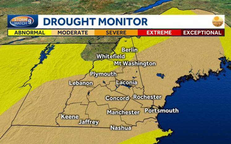 Updated drought conditions for central and southern nh graphic from WMUR