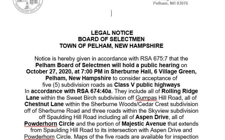 Public Hearing Notice picture of Road acceptance of 5 roads