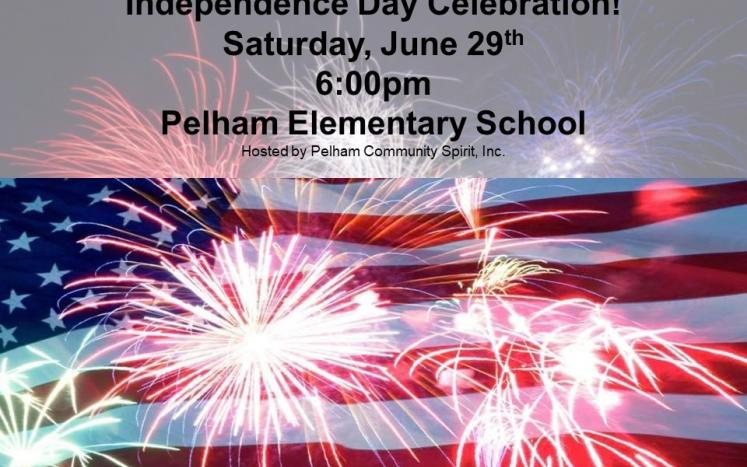 Independence Day Notice with American flag and fireworks